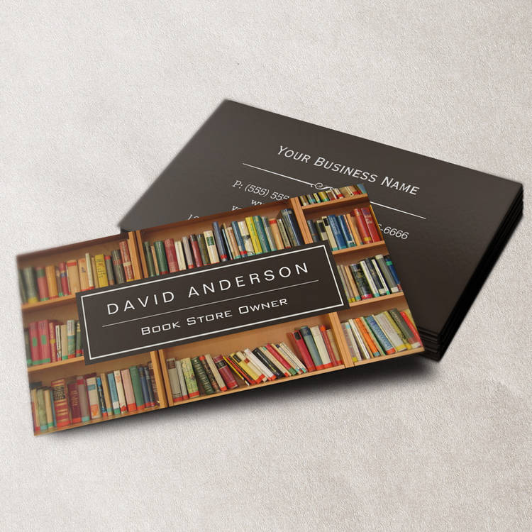 Customizable Elegant Bookstore Book Store Owner Bookshelf Business Cards