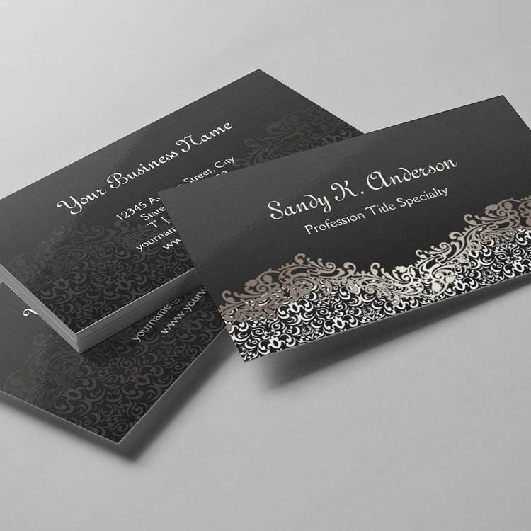 Customizable Elegant Floral Silver Damask Lace Business Card Templates