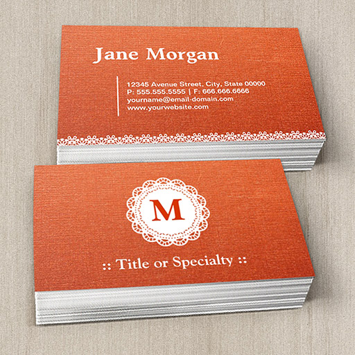 Customizable Elegant Lace Monogram Orange Pattern Business Card Templates