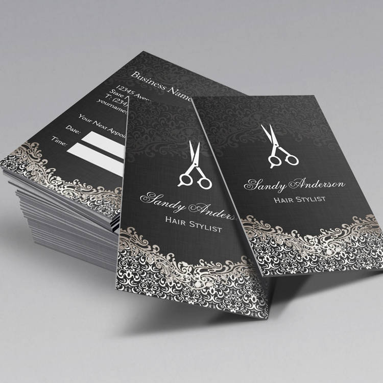 Elegant silver damask hair stylist appointment business card template cheaphphosting