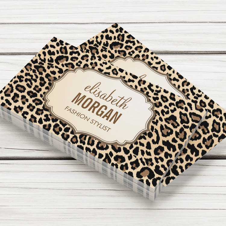 Customizable Elegant Stylish Leopard Print Girly Pattern Business Card Template