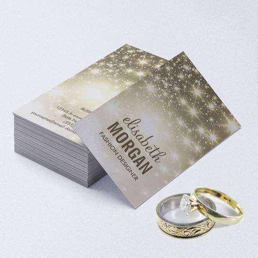 Customizable Fashion Stylish - Shiny Sparkles with Gold Glitter Business Card Templates