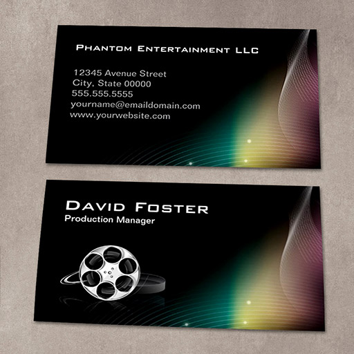 Film production manager director producer cutter business card for Video production business cards