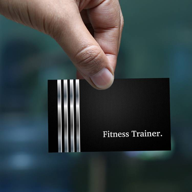 Customizable Fitness Trainer Professional Black Silver Business Card