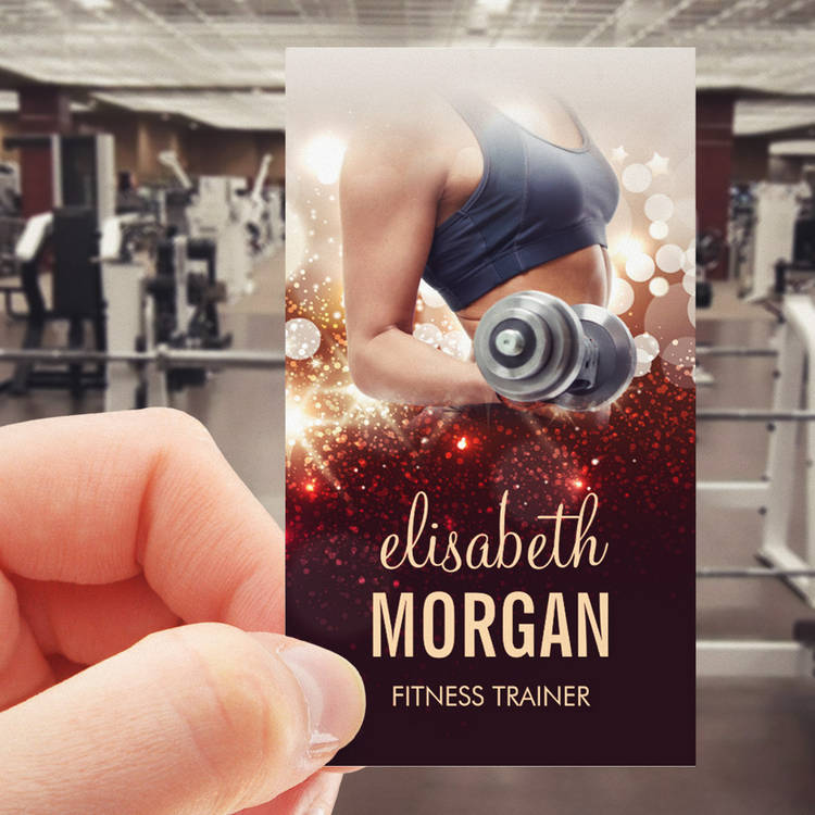 Customizable Girl Fitness Trainer Dumbbell Gold Glitter Sparkle Pack Of Standard Business Cards