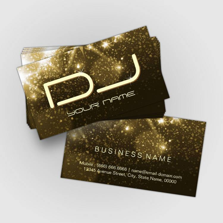 Customizable Glamour Gold Sparkles - Party DJ Business Cards