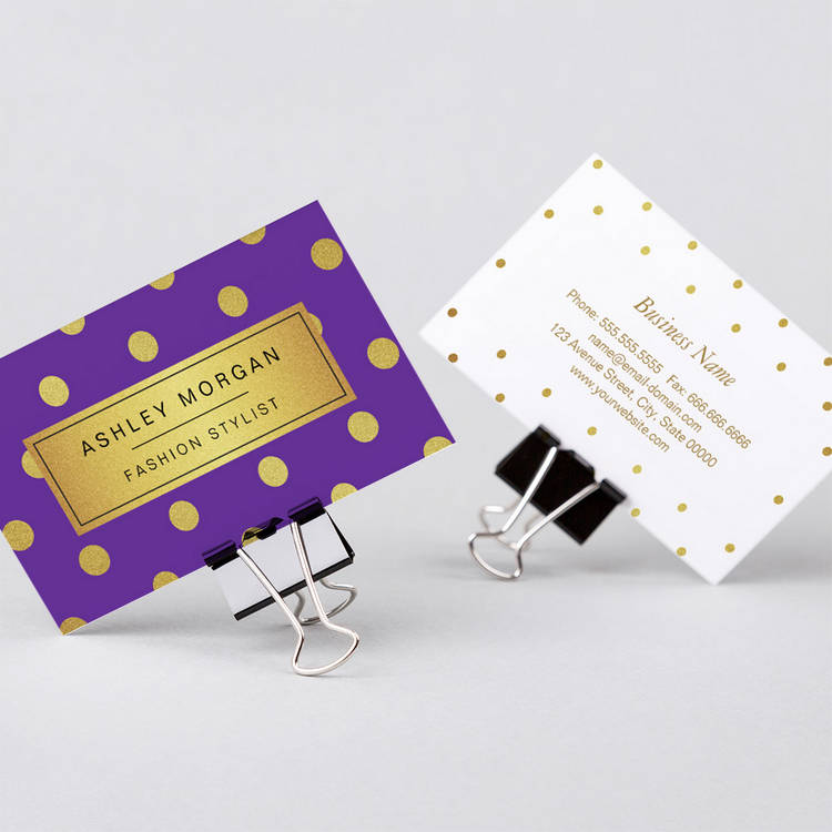 300 creative and inspiring business card designs page4 customizable gold glitter polka dots girly lavender purple business card colourmoves