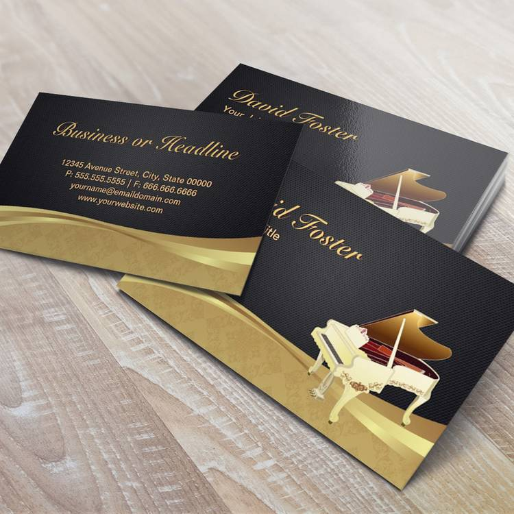 Customizable Grand Piano Pianist Elegant Black Gold Damask Business Card Template
