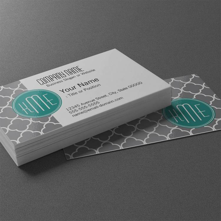 Customizable Gray Quatrefoil with Custom Mint Monogram Business Card Templates
