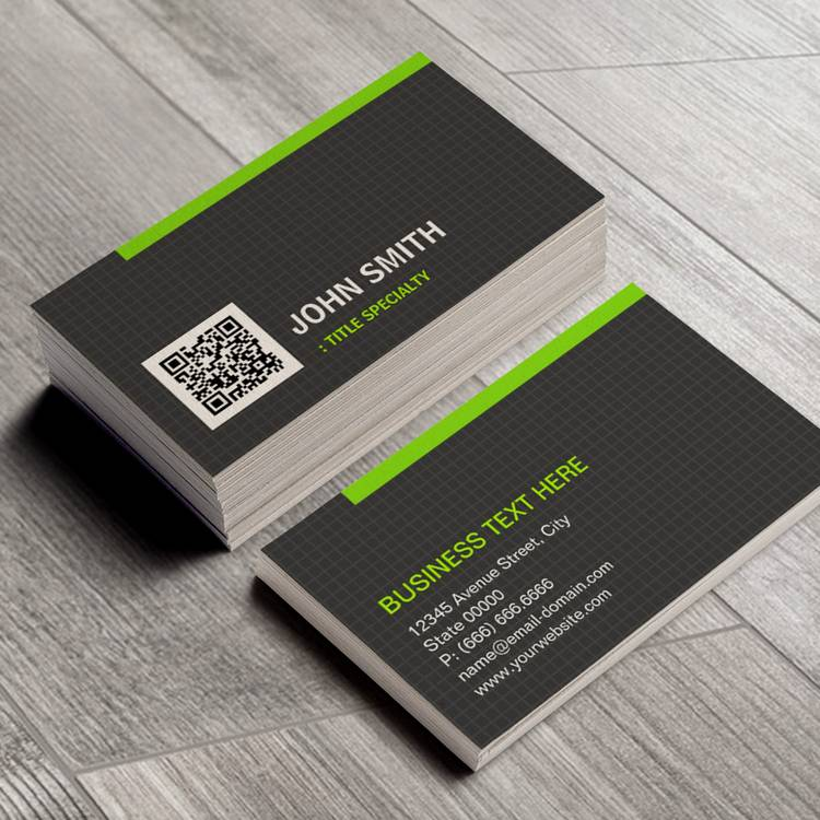 Customizable Green Border in Simple Grid Pattern with QR Code Business Cards