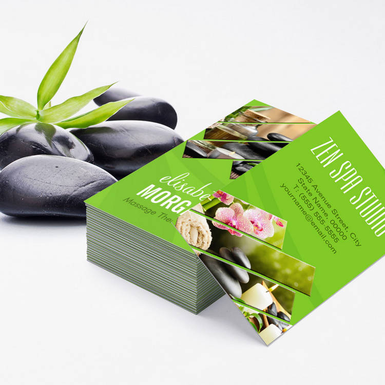 Customizable Green Chic Zen Spa Wellness Massage Therapist Business Cards