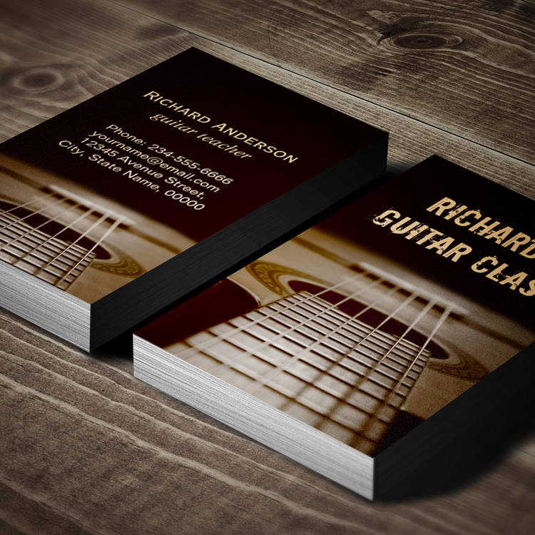 Customizable Guitar Lessons - Classic Elegant Guitar Photo Business Card Templates