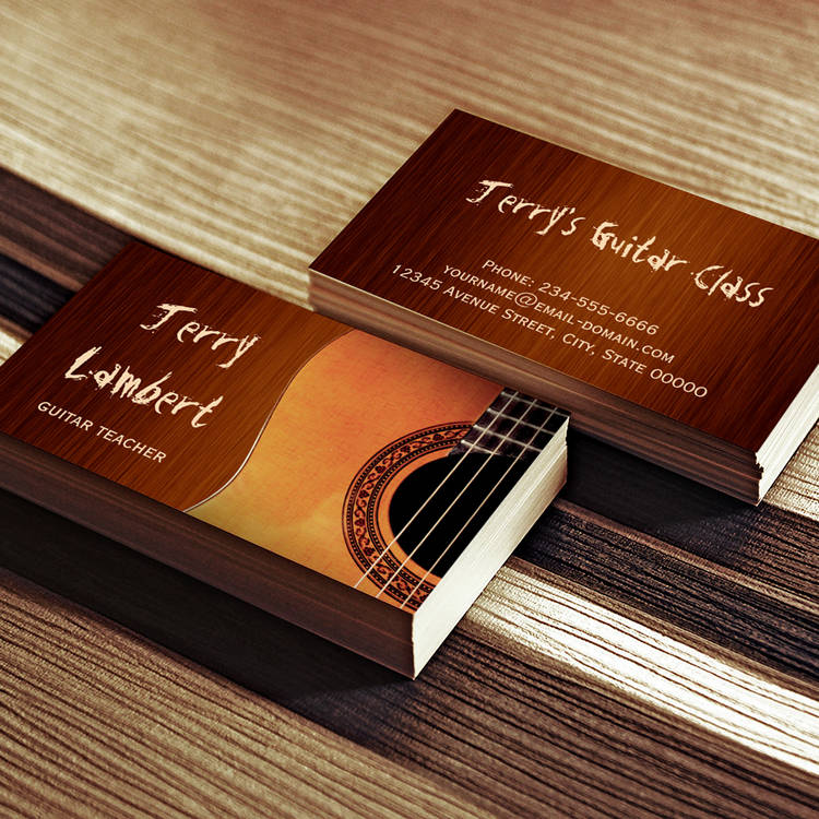 Customizable Guitarist Guitar Player Teacher Stylish Wood Look Business Card Templates