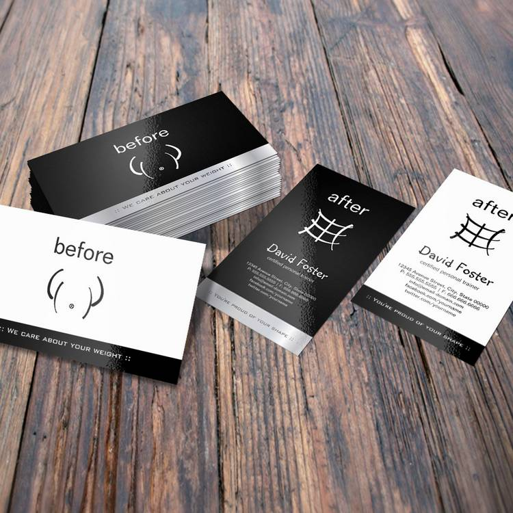 Customizable Gym Fitness Before and After Personal Trainer Business Card
