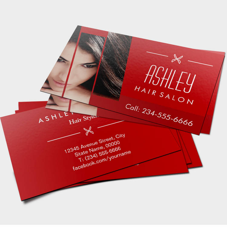 Hair Salon Beauty Lounge Classy Red White Scissors Business Card - Hair salon business card template