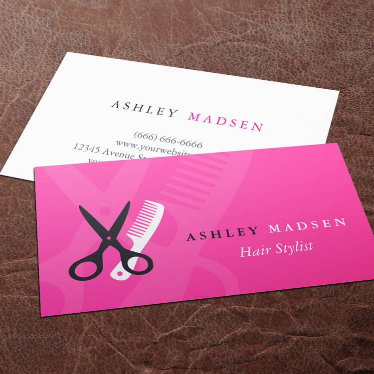 Hair salon hairstylist cute girly pink business card template fbccfo Image collections