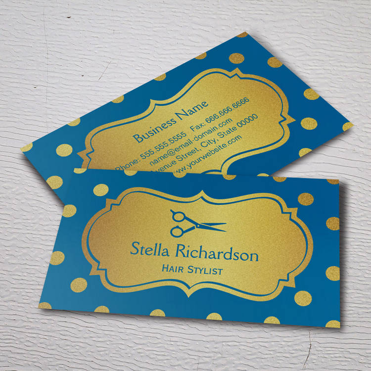 Customizable Hair Salon Stylist - Royal Blue Gold Polka Dots Business Card Template