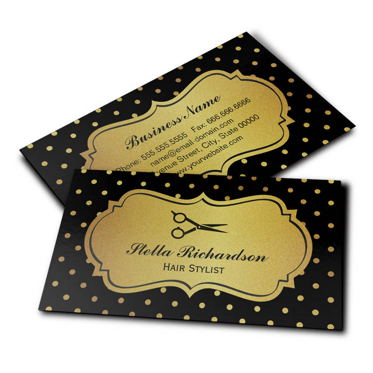 300 creative and inspiring business card designs page8 customizable hair stylist black and gold glitter polka dots business cards colourmoves