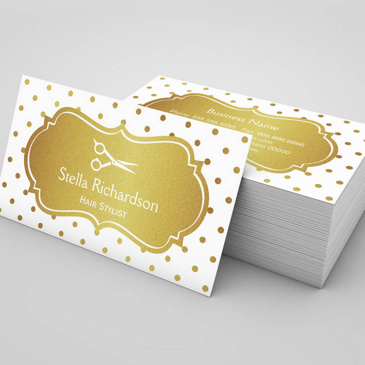 Hair Stylist - Chic White Gold Glitter Polka Dots Business Card ...
