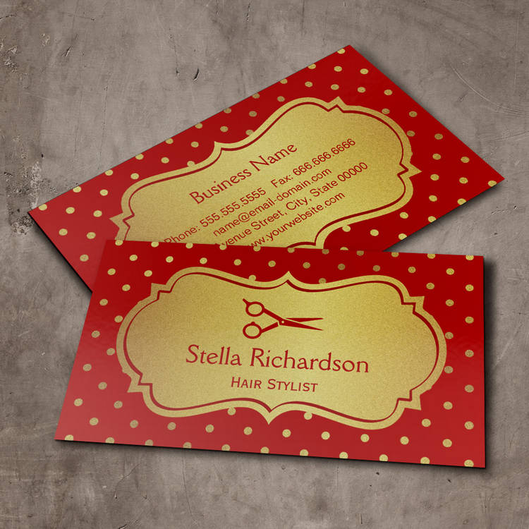 Customizable Hair Stylist - Eye Catching Hot Red Gold Dots Business Card