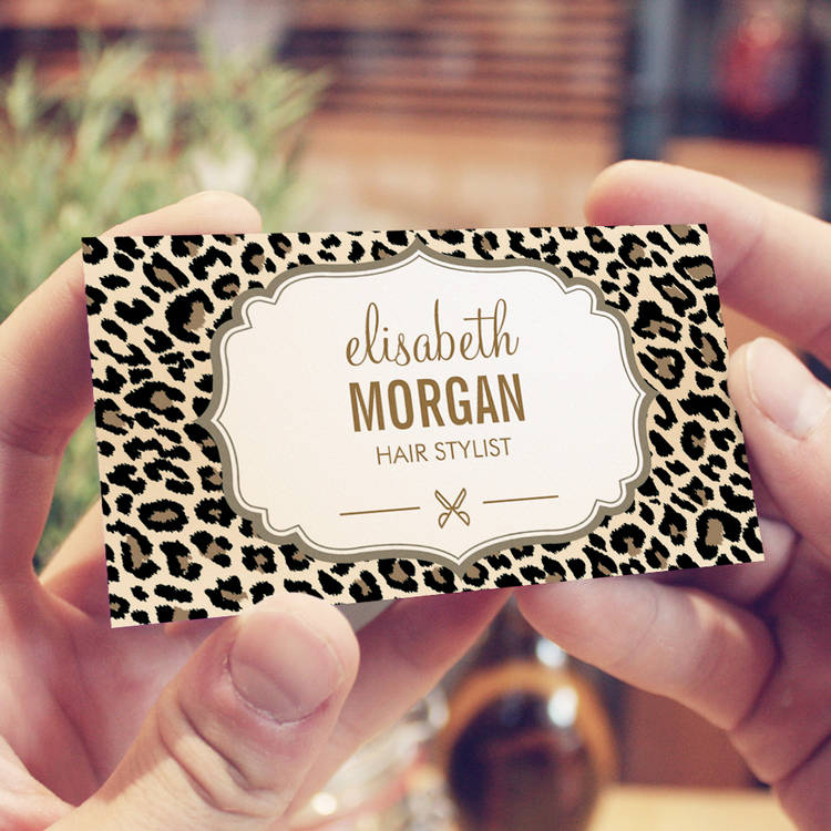 Customizable Hair Stylist Scissors Elegant Cream Leopard Print Business Card