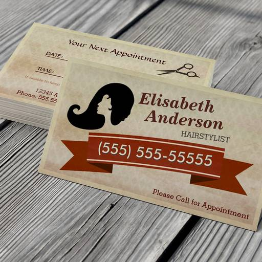 Customizable Hair Stylist - Vintage Call for Appointment Card Business Card Template