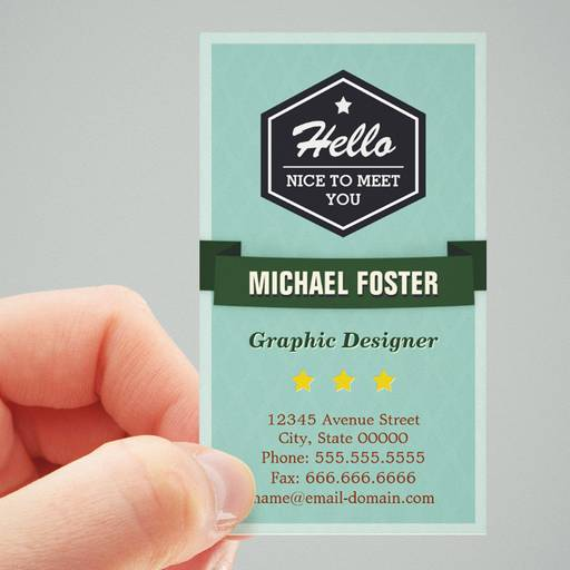 Customizable Hello Nice to Meet You - Personal Social Profile Business Card Template