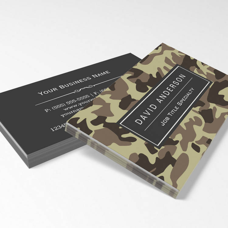 Customizable Hunter Stylish Military Camouflage Camo Pattern Business Card Template