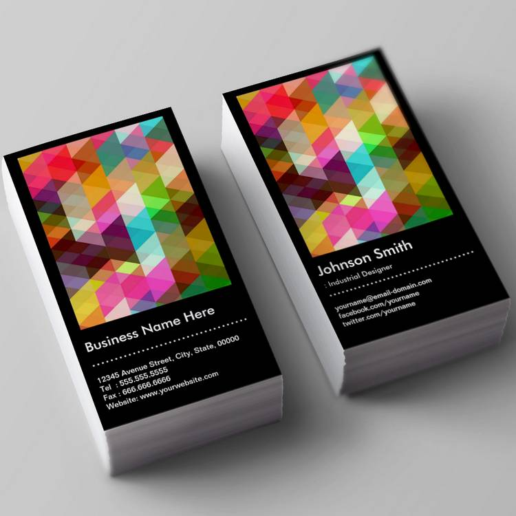 Industrial designer colorful mosaic pattern business for Industrial design business card