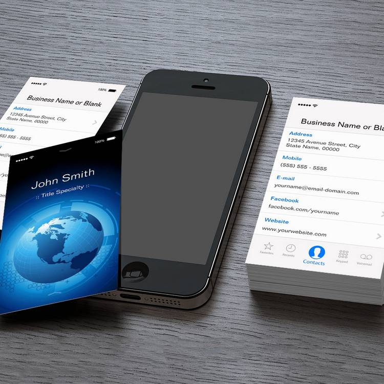 Customizable Information Technology - Cool iPhone iOS Design Business Card Template