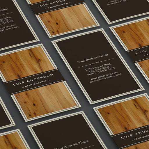 Customizable Landscaper - Stylish Wood Texture Business Card Template
