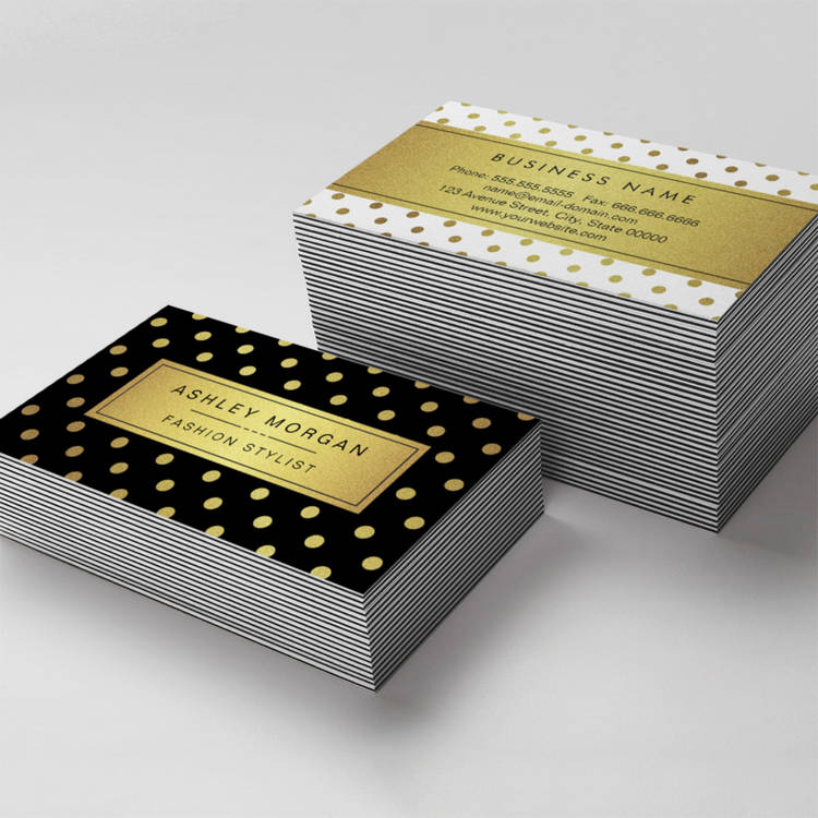 Customizable Luxury Black and Gold Glitter Polka Dots Business Cards