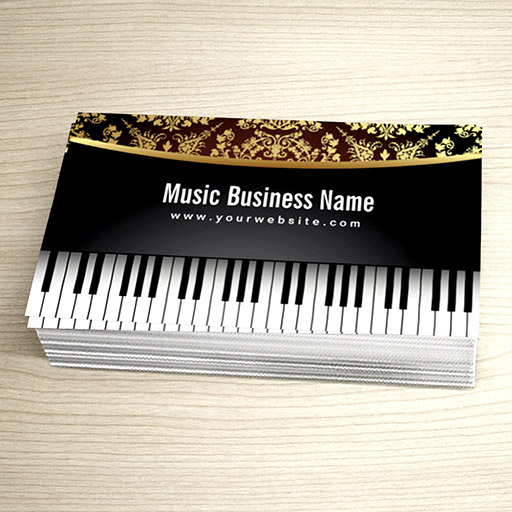 Customizable Luxury Realistic Piano Music Lessons Business Card
