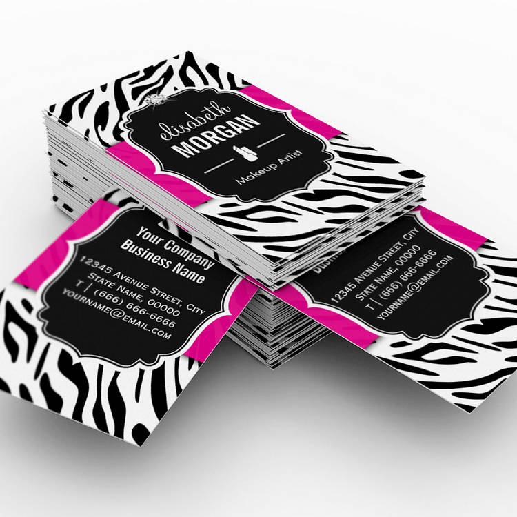 Customizable Makeup Artist - Classy Black Pink Zebra Print Business Card Templates