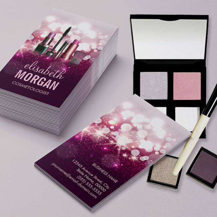Customizable Makeup Artist Cosmetician - Pink Beauty Glitter Business Cards