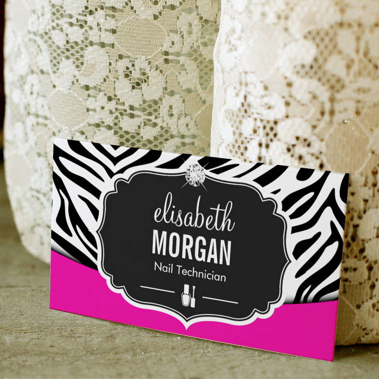 Customizable Manicurist Nail Technician Black Pink Zebra Print Business Card