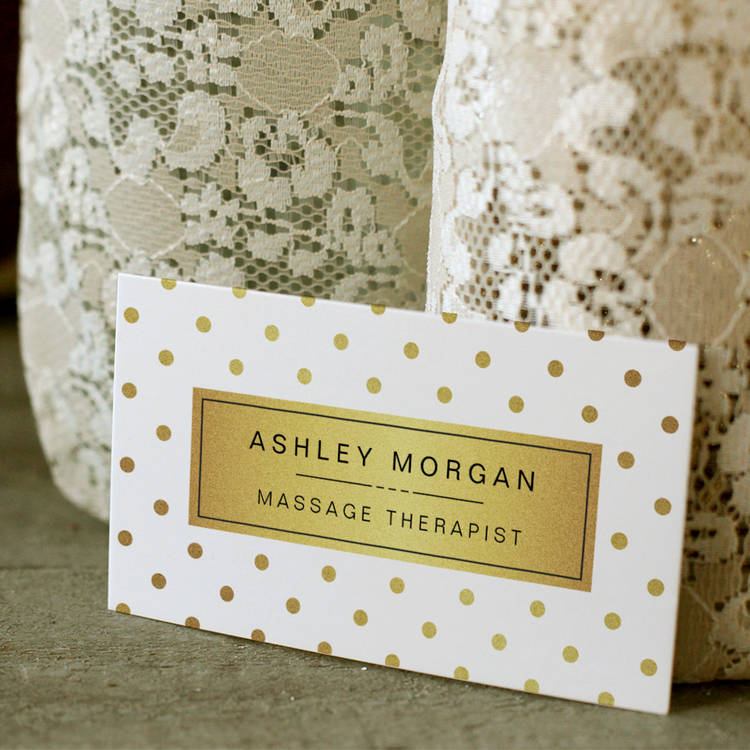 Massage therapist cute gold polka dots business card template cheaphphosting