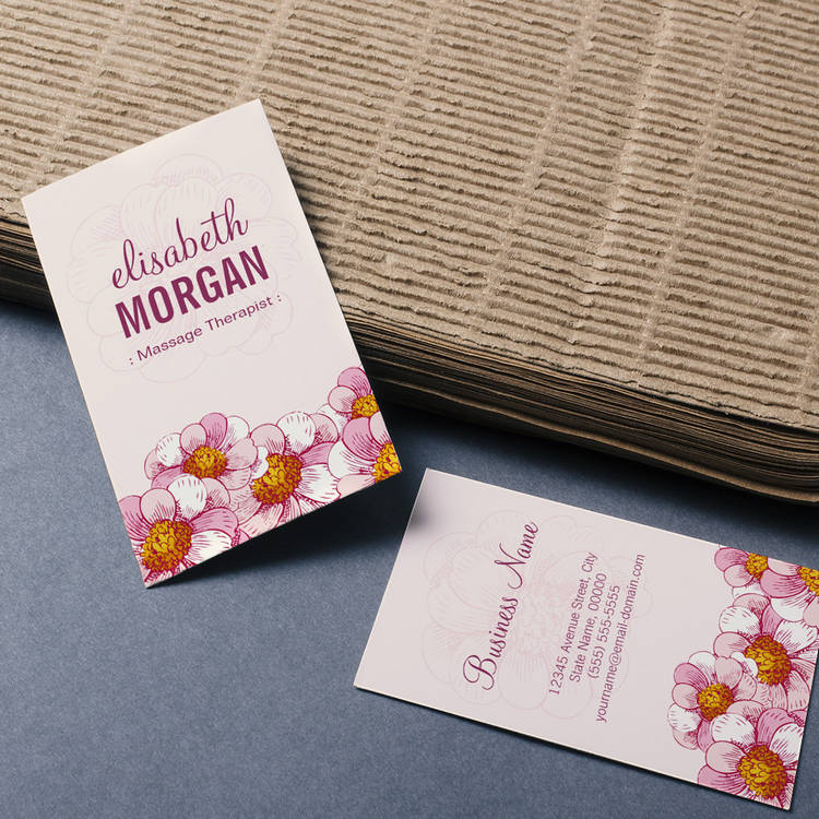Customizable Massage Therapist - Pink Boutique Flowers Business Card