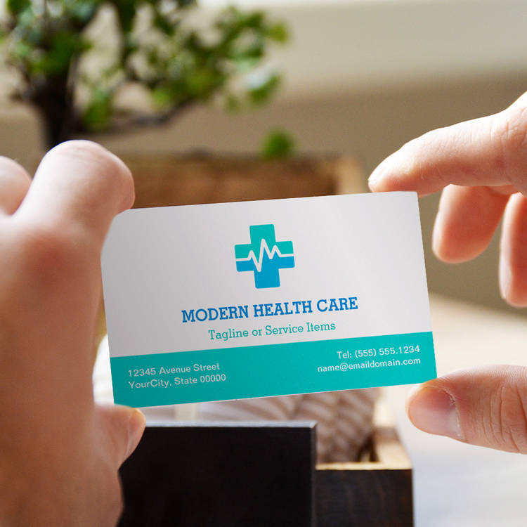 Customizable Medical Health Care - Modern Clean ECG logo Business Cards