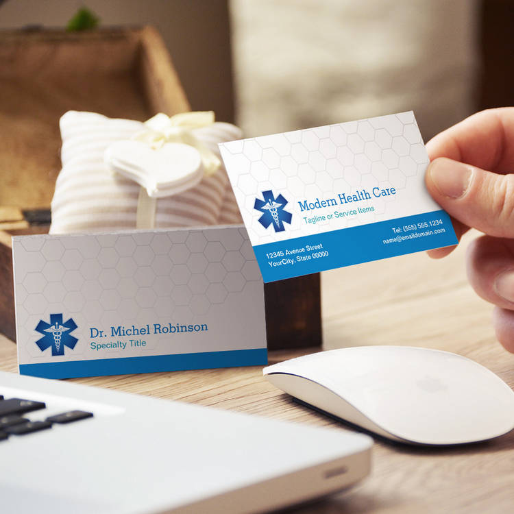Customizable Medical Symbol - Professional Modern Blue White Business Cards