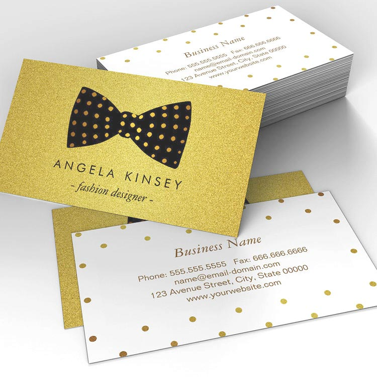 Customizable Modern Black and Gold Glitter Dots Ribbon Bow Business Card Template