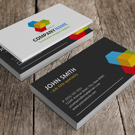 Customizable Modern Black and White with Colorful 3D Cube Logo Business Card