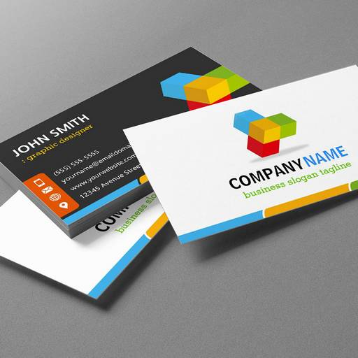 Customizable Modern Colorful Logo - Double Sided Design Business Cards
