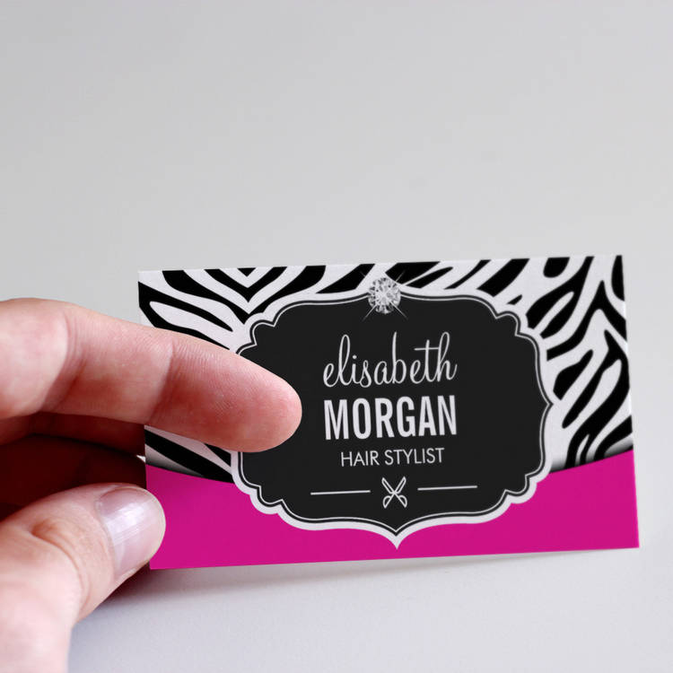 Modern hair stylist black pink zebra print diamond business cards colourmoves
