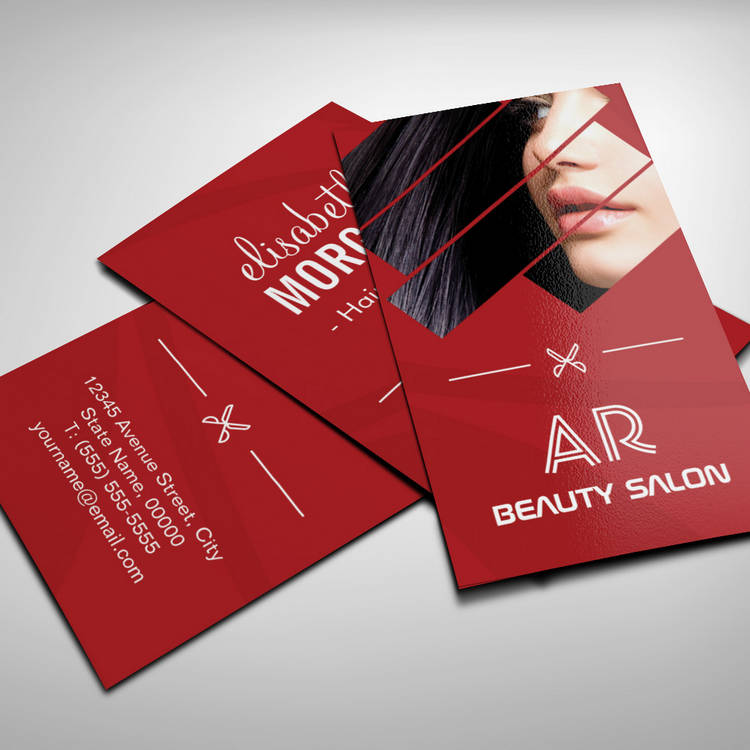 Customizable Modern Hot Red Hair Salon Scissors Beauty Monogram Business Cards