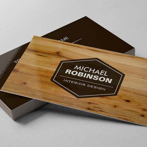 Modern Interior Design Wood Grain Texture Business Cards