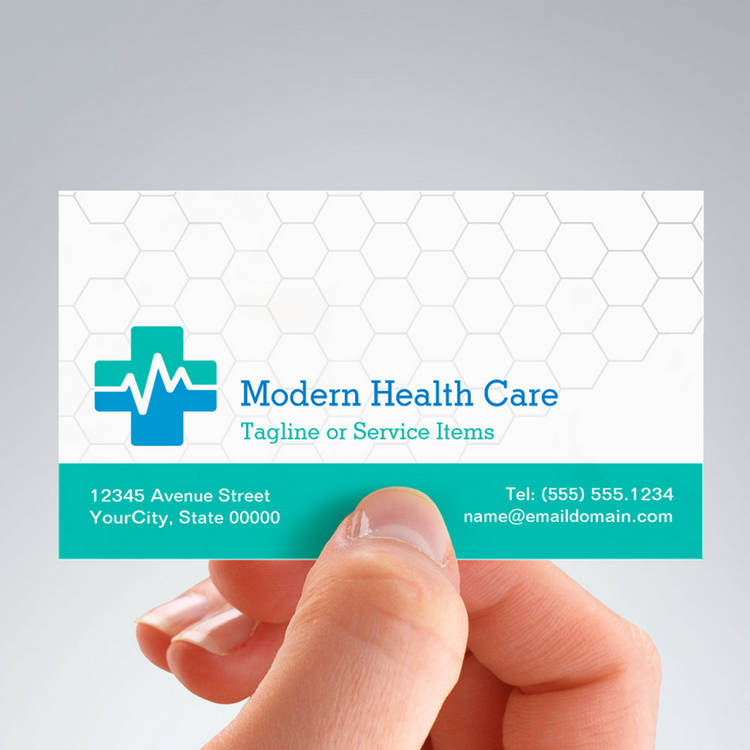 Customizable Modern Medical HealthCare - White Green Blue Business Cards