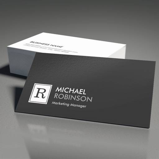 Customizable Modern Professional Monogram Black White Business Card Templates