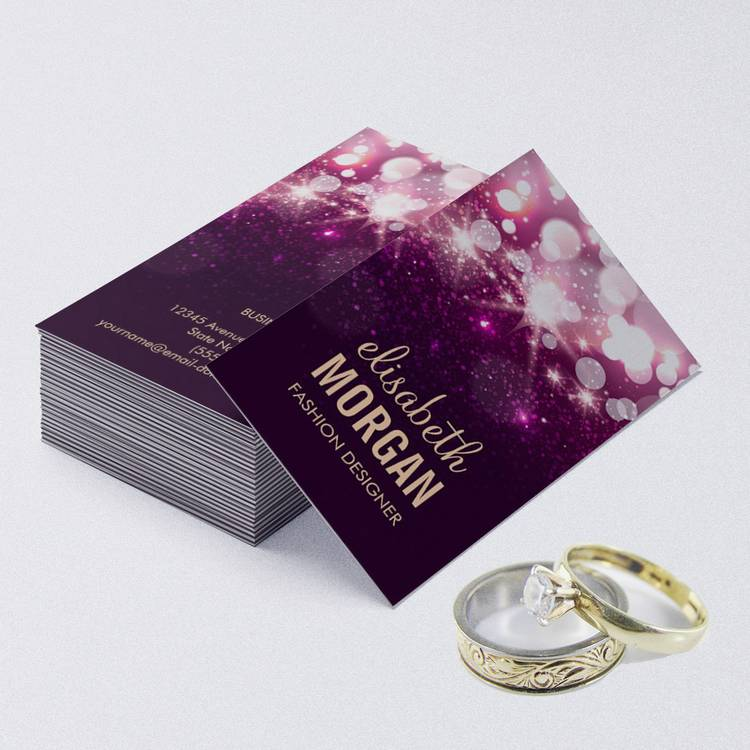 Customizable Modern Purple Glitter Sparkle Bold Business Cards