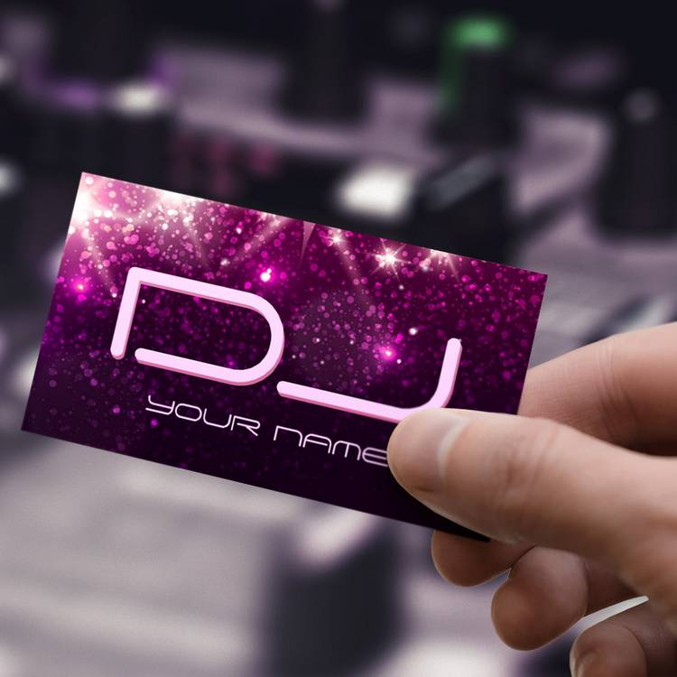 Customizable Music DJ - Shiny Pink Glitter Business Card